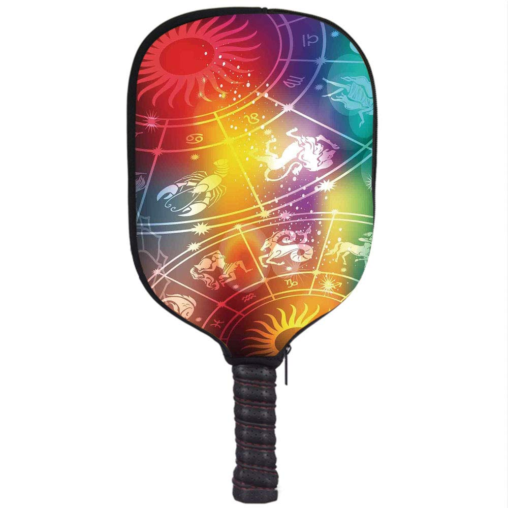 Amazon.com : Neoprene Pickleball Paddle Racket Cover Case, Astrology, Colorful Mystic Horoscope Constellation with Birth Signs Planets Cosmos Decoration ...