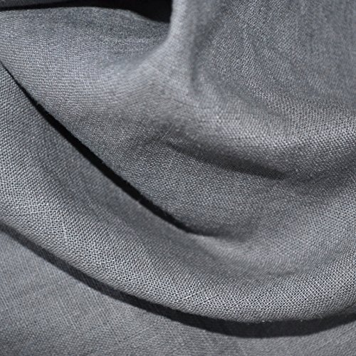 100% Linen Fabric - Textiles français Mouse Grey | Superior Quality French Plain Linen Solid Fabric with a Beautiful Soft Feel and Handle (54 Inches Wide) - Per Yard