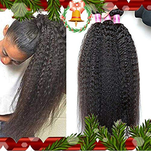 - XiaoYuan Brazilian Virgin Kinky Straight Hair Weave 3 Bundles 8a Yaki Straight Human Hair Extensions Natural Color,100g/bundle(12