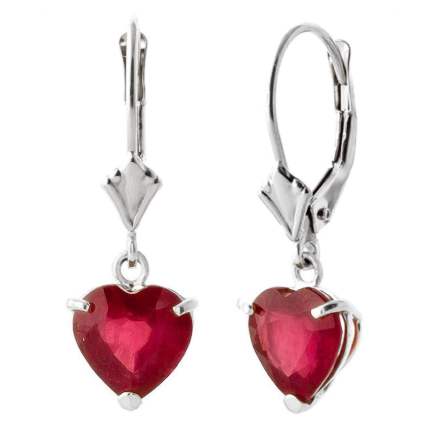 2.9 CTW 14k Solid White Gold Leverback Earrings with Natural Heart-shaped Ruby