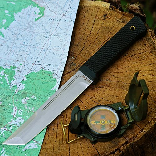 Grand Way Tanto Fixed Blade Knife - Stainless Steel Japanese Tanto Blade Knives - Black Tactical Military Survival Traditional Ninja Knife with Sheath 2787 U-A by Grand Way (Image #1)