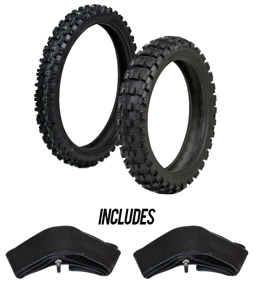 ProTrax Motocross Offroad Front 80/100-21' & Rear 120/80-19' Tires & Tubes Combo Kit - Intermediate/Hard Terrain PT1178