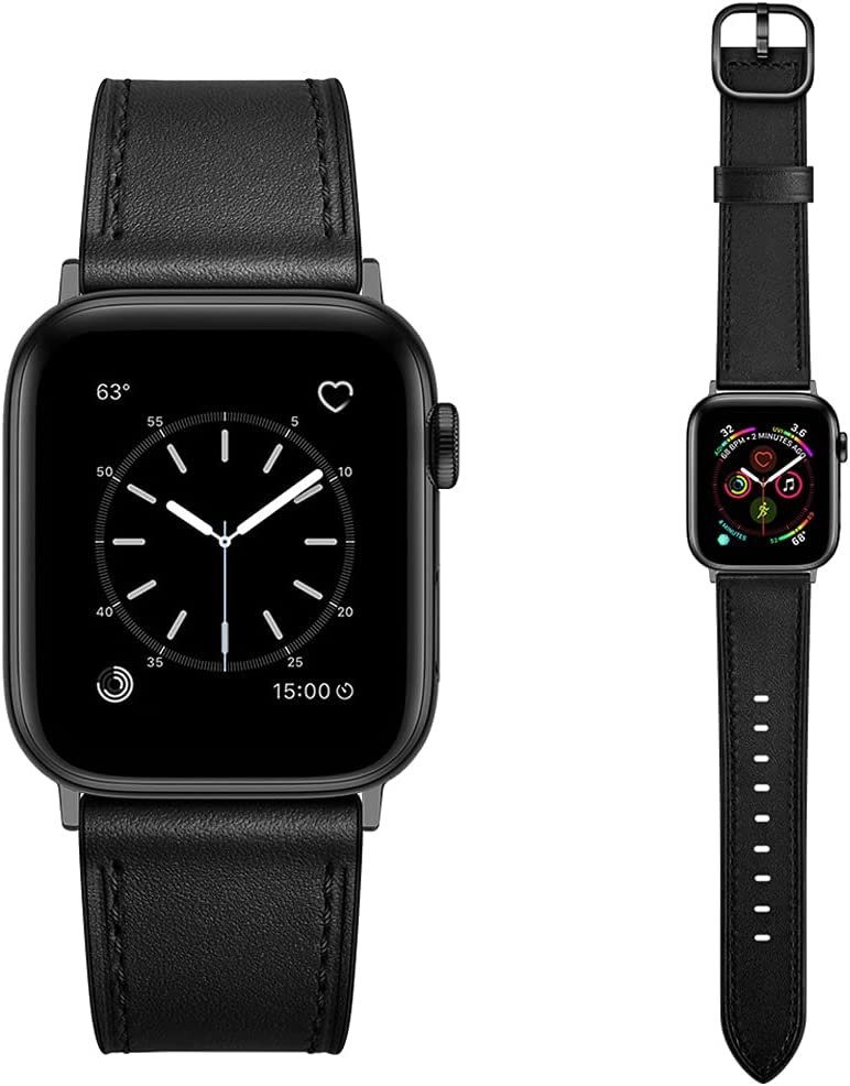 Dilando Leather Band Compatible with Apple Watch Series 6 38mm 40mm Genuine Leather Vintage Replacement Strap Classic Bracelet Buckle for iWatch SE 6 5 4 3 2 1 Women Men Black 38mm 40mm