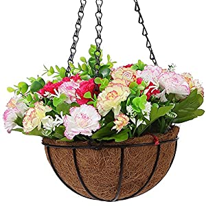 IBEUTES 7.8 inch Artificial Hanging Flower Carnation Hanging Baskets Silk Plants Decor Indoor Outdoor (No Assembly Required) 29