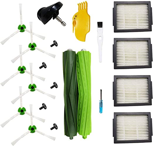 Replacement Parts for iRobot Roomba i7 and i7 4 High-Efficiency Filters, 6 Edge-Sweeping Brushes, 1 Castor Wheel, 1 Cleaning Tool and 1 Set Multi-Surface Rubber Brushes Replenishment