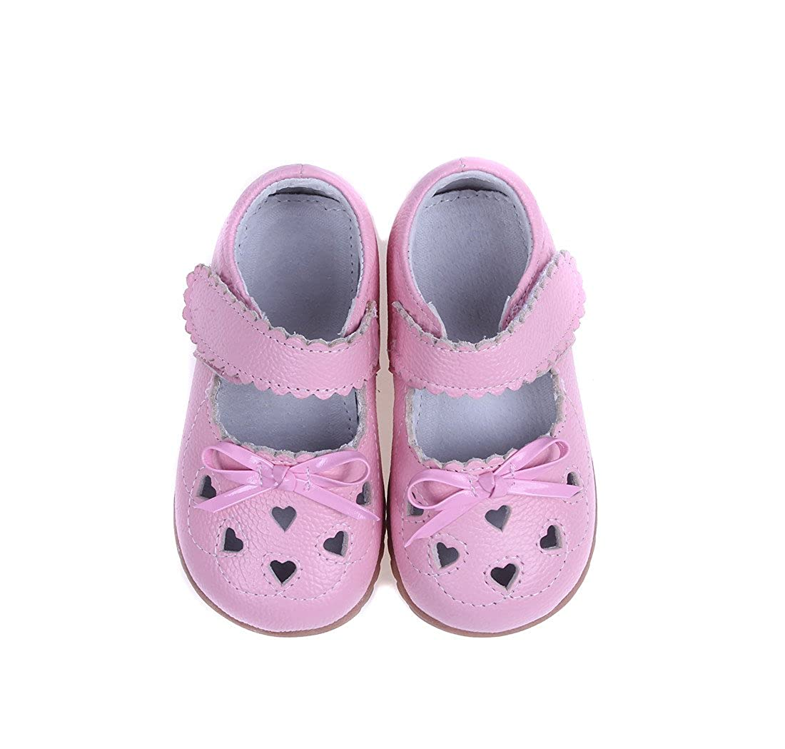 MIGO BABY Girls Leather Bowknot Design Soft Round Toe Princess Dress Mary Jane Flat Shoes