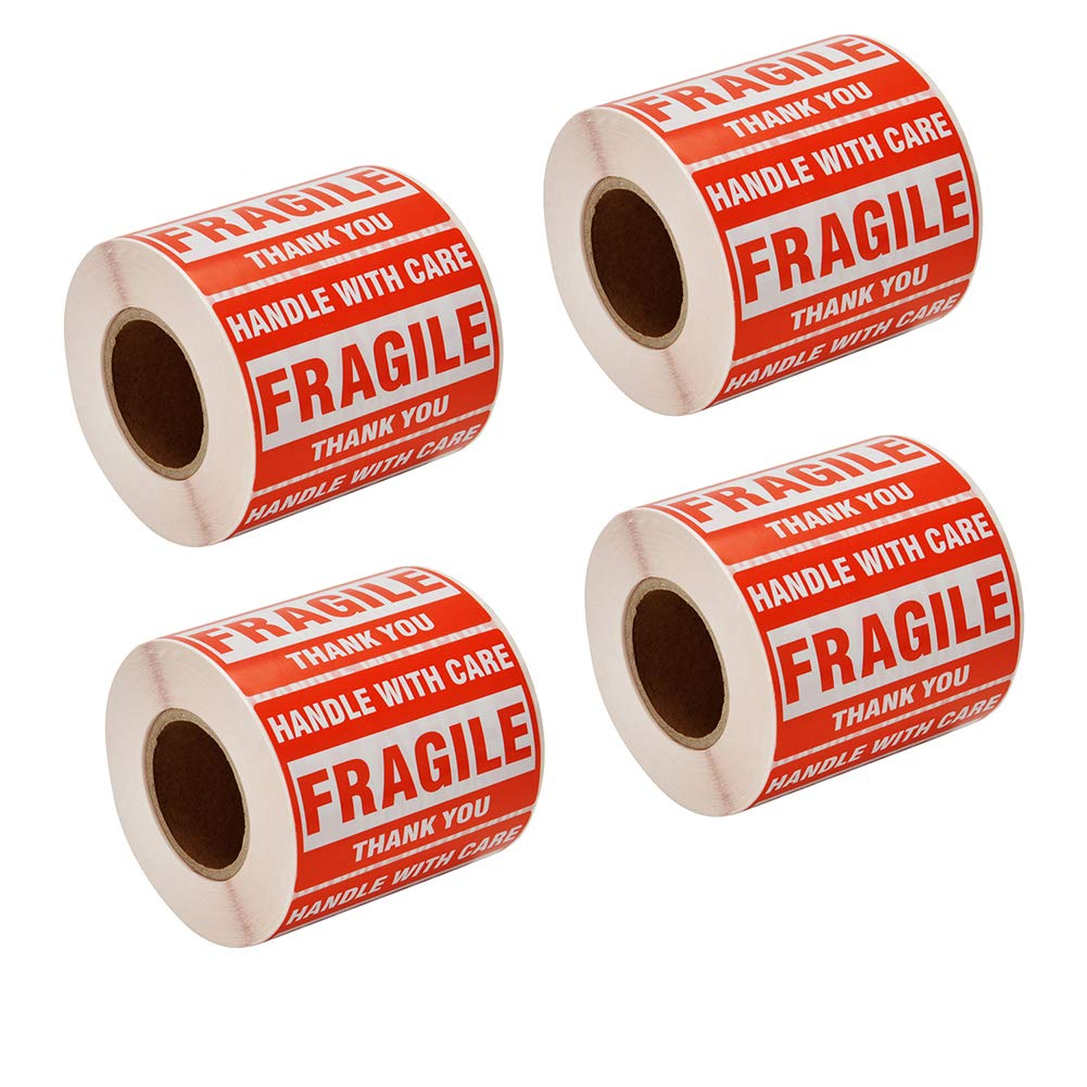 SJPACK 2000 Fragile Stickers 4 Rolls 2'' x 3'' Fragile - Handle with Care - Thank You Shipping Labels Stickers (500 Labels/Roll) by SJPACK