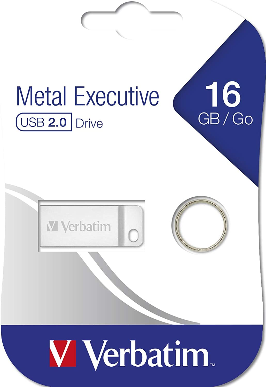 Silver 16 Gbusb 2.0 Silver Verbatim 16gb Metal Executive Usb Flash Drive