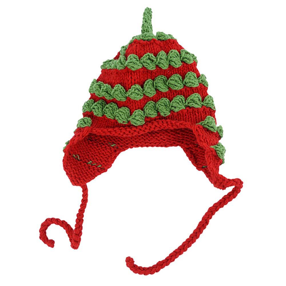 Gbell 幼児 赤ちゃん 冬 クリスマス LEDライト ニット帽とスカーフセット 赤ちゃんの温かいポンポン付き帽子 ライトアップ ソフトニットキャップ かぎ針編み ストレッチビーニー 帽子 スカーフ 幼児 男の子 女の子用 B07KB55387 Red B Red B