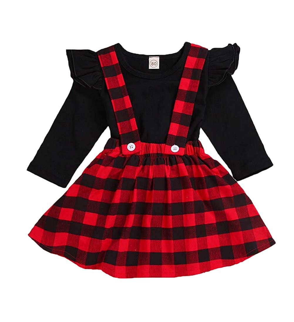 e145b06f4e24 Amazon.com  Baby Outfits Girl Long Sleeve T-Shirt Ruffle Top Overalls Strap Dress  Clothes Set Plaid Skirt Winter  Clothing