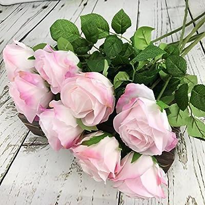 Cream Pink DALAMODA 8 Pcs Cream Pink Artificial Silk Rose Flower DIY Wedding Bridal Bouquet flower or DIY any Decoration Pack of 8pcs