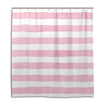 ALAZA Watercolor Pink Stripes Shower Curtain 72 X Inch Mildew Resistant Waterproof Polyester