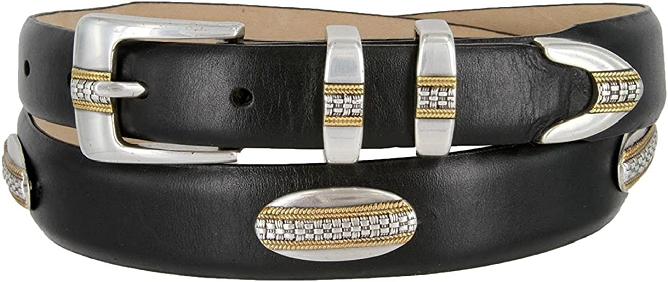 Hagora Men 1-1//8 Wide Genuine Italian Leather Designer Buckle /& Conchos Belt
