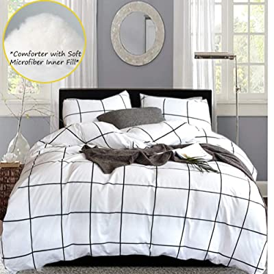 karever White Comforter Set Big Grid Plaid Pattern Printed Down Alternative Comforters 100 Cotton Fabric with Soft Microfiber Fill Bedding Set for Kids Teens Adult (3pcs, Queen Size): Home & Kitchen