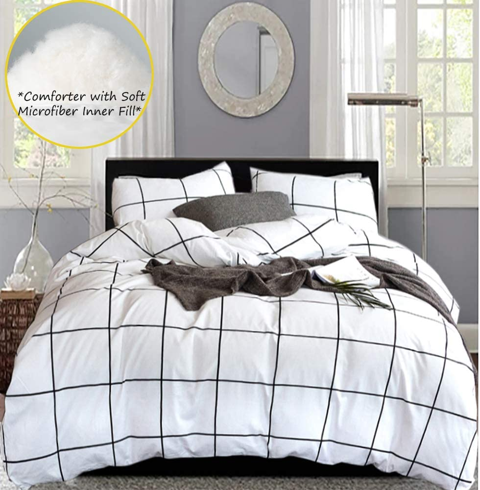 karever White Comforter Set Big Grid Plaid Pattern Printed Down Alternative Comforters 100 Cotton Fabric with Soft Microfiber Fill Bedding Set for Kids