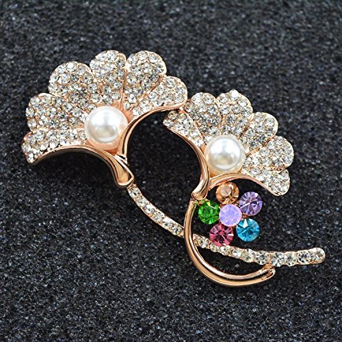Korea over drilling high-end boutique fashion jewelry pearl flower brooch pin shawl sweater does not fade apricot leaf diamond brooch