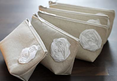 Set of 5 Linen Bridesmaid Clutches - Burlap Clutches, Country ...