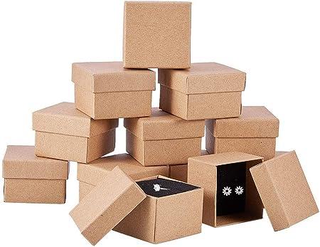◆【CANTIDAD】:24 Pack Caja cartón kraft para joya con tapa, Cada caja mide aproximadamente 5x5x3.3cm,