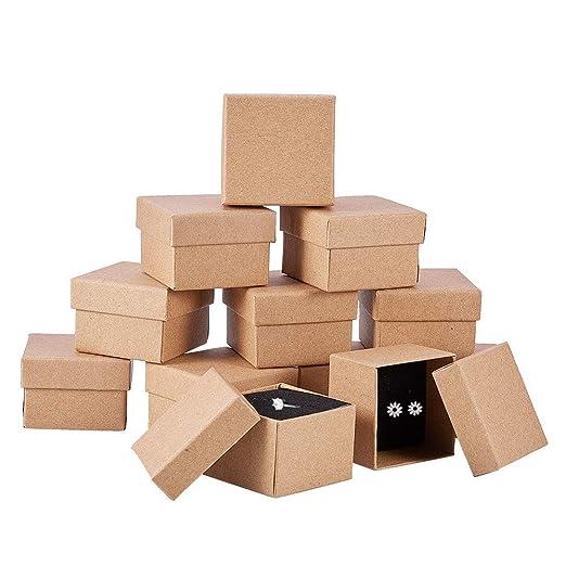 BENECREAT 24 Pack Cajas de Cartón Kraft para Anillo 5x5x3cm Pequeña Caja de Regalo para Cumpleaños Boda Festival