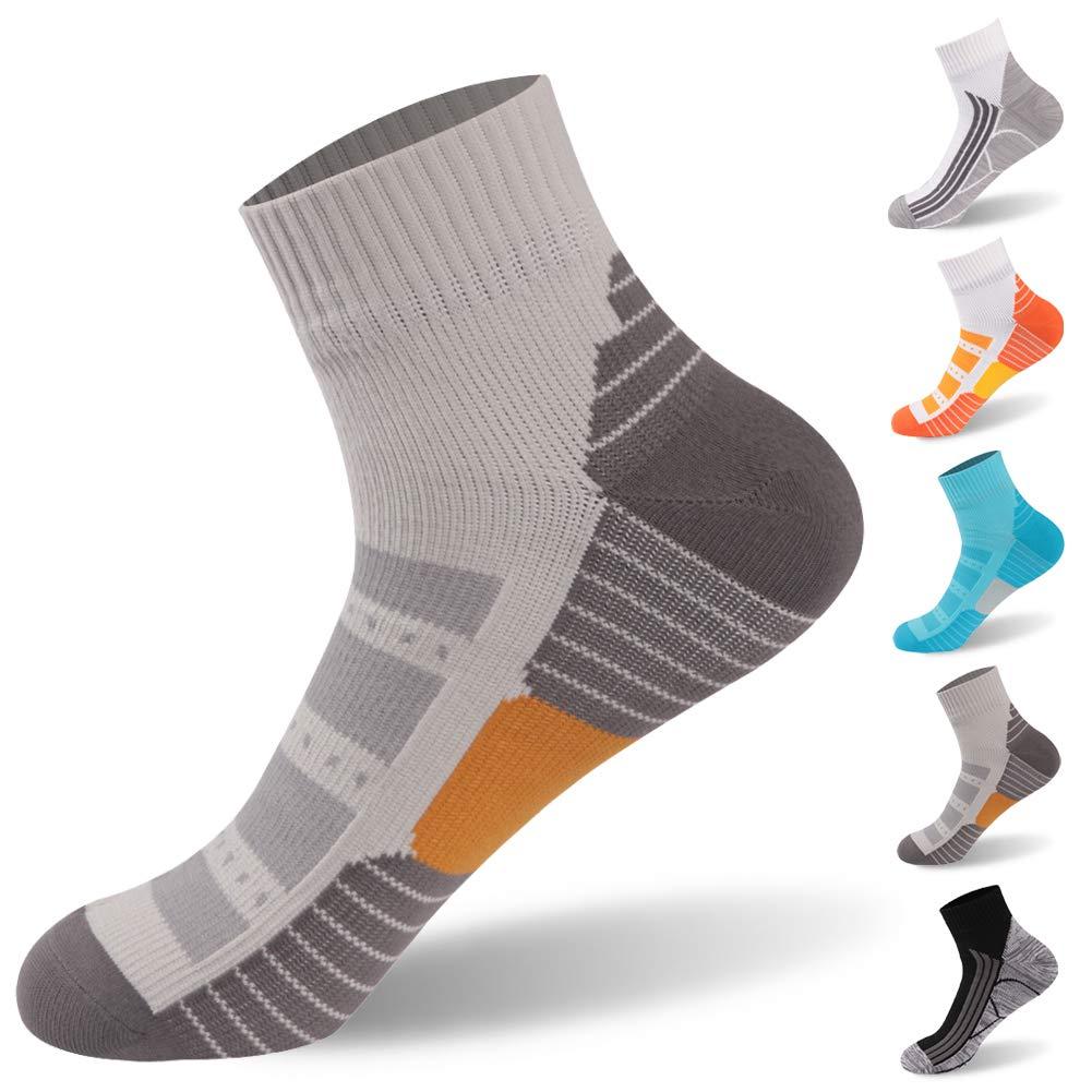 RANDY SUN Running Socks, Waterproof Socks Men and Women Tennis Socks Moisture Wicking Breathable Running Hiking Socks, 1 Pair-Grey1-Ankle Socks,Medium