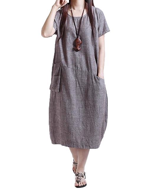8066efe5f46a Ambrelia Lino y algodón de la Mujer Vestido Largo de Verano Manga ...