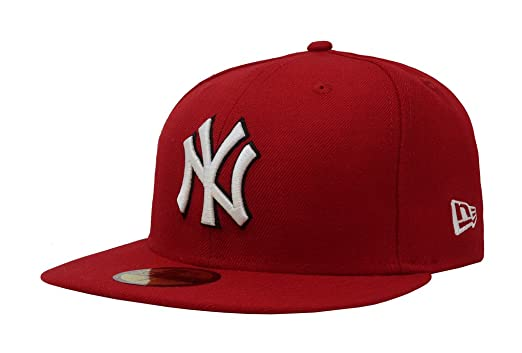 New Era 59Fifty Hat New York Yankees MLB Red Fitted Headwear Cap at ... 6eec9683757