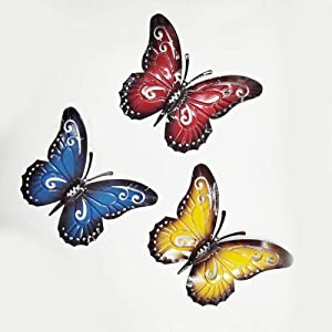 ChezMax Nature-Inspired Metal Butterfly Red Yellow and Blue Set of 3 Wall Metal Art Colorful Garden Sculpture Wall Hanging for Indoor and Outdoor 1 Size 3 Colors
