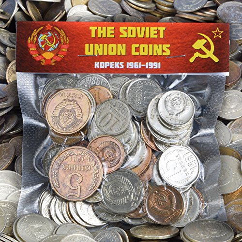 LOT OF USSR SOVIET RUSSIAN KOPEKS COINS 1961-1991 COLD WAR HAMMER AND SICKLE MONEY (100) ()