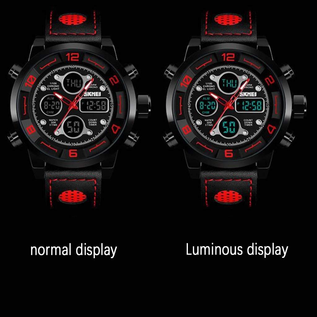 Klockor herrklocka, kreativ multifunktionell nedräkning tre gånger sport vattentät lysande elektronisk klocka (svart) WTR b