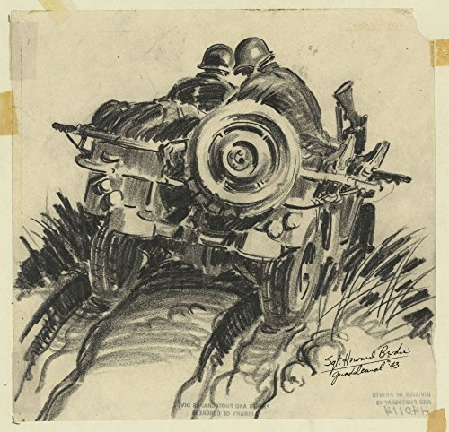 1943 Photo A KIA (killed in action) is taken down Mt. Aestin [e.g. Austen] front Drawing shows the rear of a jeep, as two soldiers drive the body of a dead comrade down Mt. Austen during the World War II Battle of Guadalcanal. Location: Guadalcanal, Solomon Islands