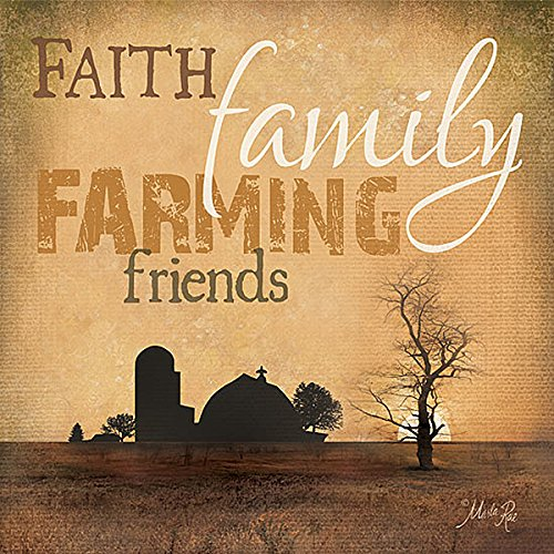 Faith Family Farming Friends Sign by Marla Rae Museum Wrapped Canvas Art 40x40 Inches on Frame by Framed Art by Tilliams