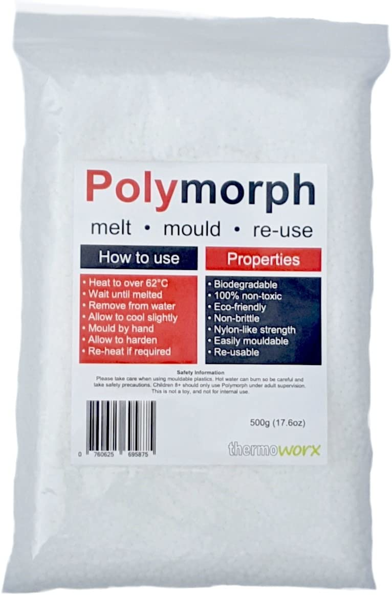 Thermoworx Polymorph 500g | Hand mouldable eco-friendly thermoplastic. Re-usable unlimited uses - DIY, Crafts, Repairs, Moulds, Casting, Plastic adhesive, Modelling, Grips, Prototypes. TOP QUALITY!