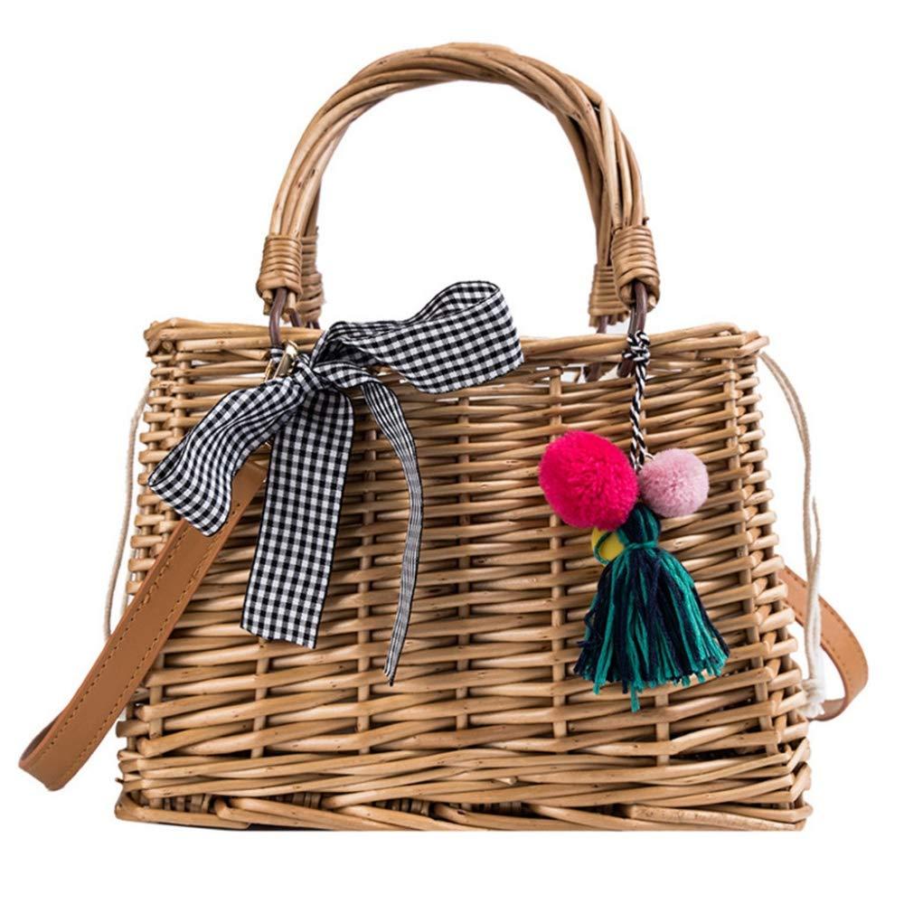 BOOBOOAL Crossbody Beach Bag sac Beach Tassel Bamboo Basket Bucket Bag Square Bag Messenger Bag