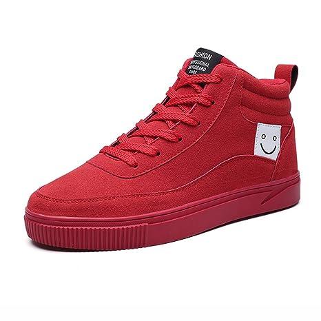 QIDI Zapatos Casuales Macho Alta Ayuda El Movimiento Gamuza El Negro Rojo Zapatillas De Deporte (