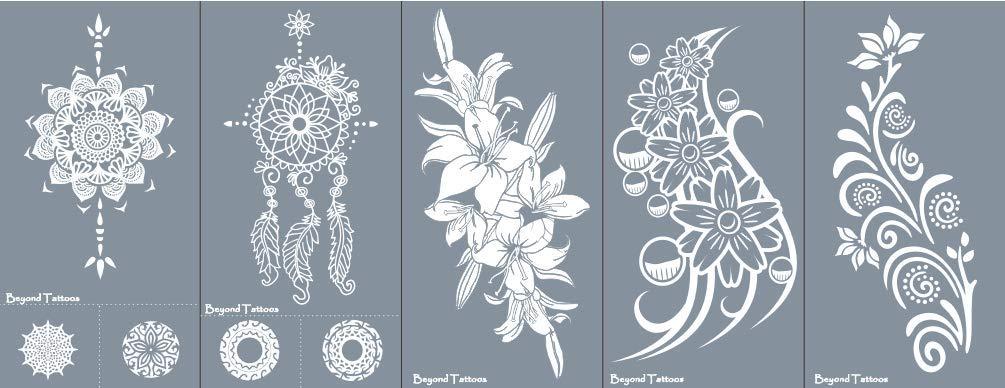 Micro Rete Tattoo Stencil per corpo dipinto autoadesivo semplice e riutilizzabili 5Sheets Set Lily Beyond