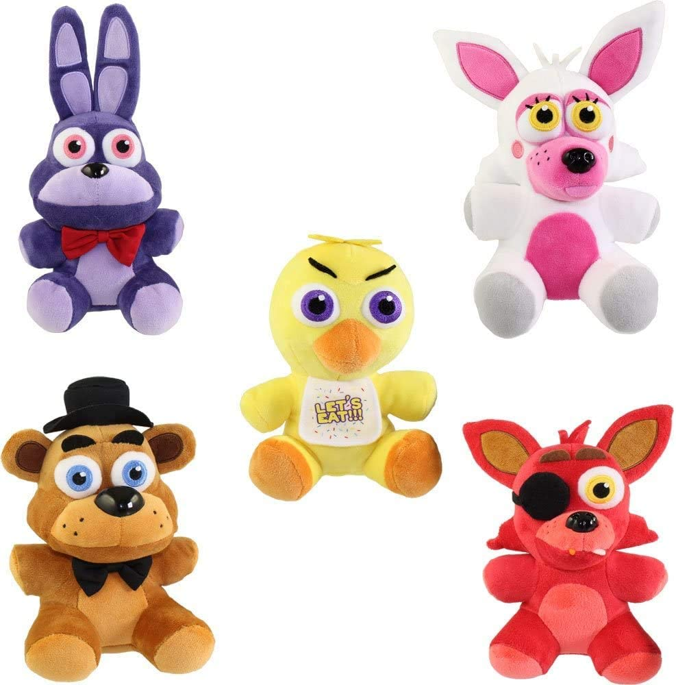Bonnie FNAF Plushies Anime Toys Set 5pcs Foxy Gifts for Five Nights Anime Fans Freddy Fazbear and Chica Toys Dolls Plush Set Dolls for Kids FNAF Toys