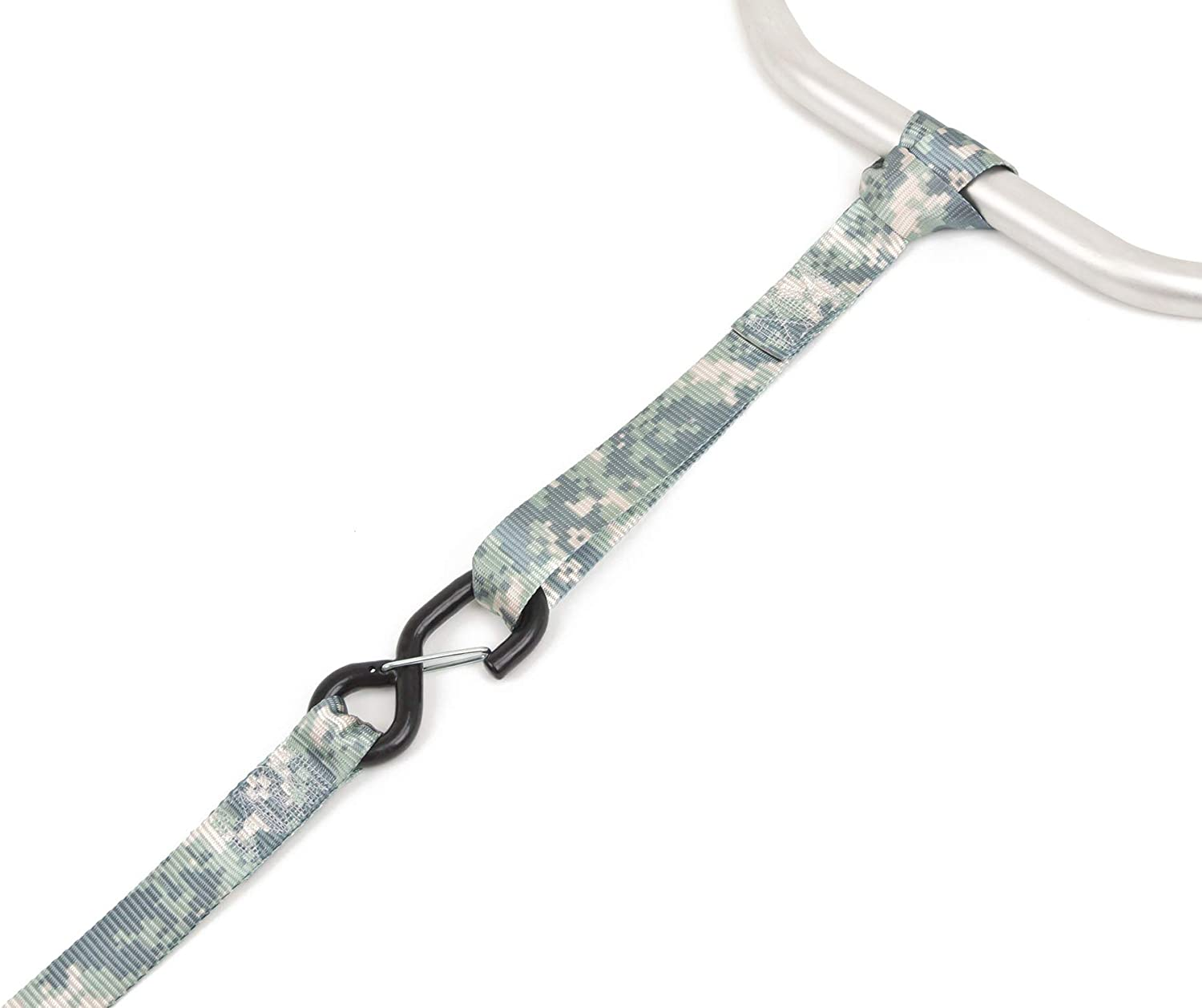 PowerTye 1.5in x 8ft DIGITAL CAMO KIT 18in Soft-Tyes Bag 1 kit Latch Hooks Made in USA with Black Ratchet