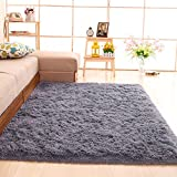 gdmgdr Soft and Fluffy Nursery Rugs Ultra Soft 4cm Thick Indoor Morden Shaggy Area Rugs Bedroom Carpet Living Room Rugs 4 Feet by 5.3 Feet, Gray