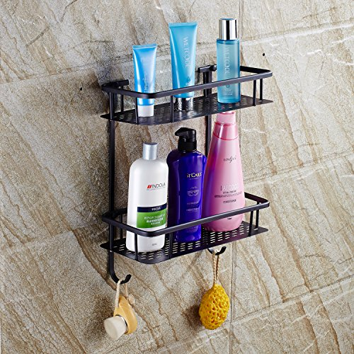 low-cost Black Coated Rectangle Brass Bathroom Double Plate-type Shelf Wall Mounted Shower Baskets Corner Pole Caddy for Shampoo,Soap,Conditioner