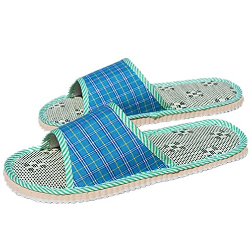 675ba3e1bbc7 Freewent Women s Plaid Flax Open Toe House Slippers for Wood Floor Blue  Large 2 Pairs