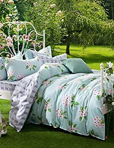 ZY/de sarga algodón 4piezas Simple y natural diseño de flores funda de edredón de conjuntos, reina/King Size queen