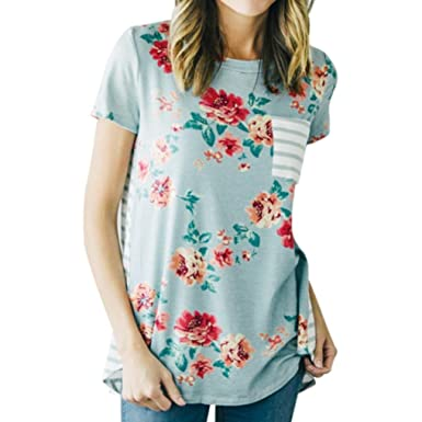 Teresamoon Clearance Sale! Printed Blouse, Women Short Sleeve Casual Tops T Shirt (Blue