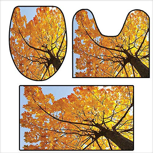3-Piece Bathroom Mat Set Autumn Maple Tree from the Bottom to Top View Environment Flora Season November Print Orange Blue.Extra Soft Memory Foam Combo - Rug 16.9