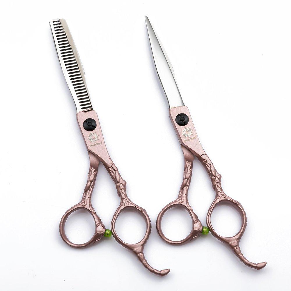 Barber Scissors Set - 6.0 inch Hairdressing Scissors with Bag- Hairdressing Cutting Scissors and Thinning Shears Kit Mustache Beard Trimming Hairdresser Tools by Dream Reach (Set Rose Gold)