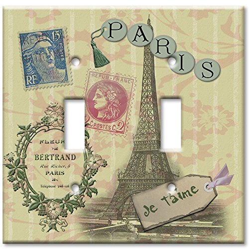 Double Gang Toggle Wall Plate - Paris Je T'aime