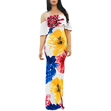 Ulanda-EU Womens Dresses Ladies Off Shoulder Floral Print Body Con Dress Casual Holiday Beach