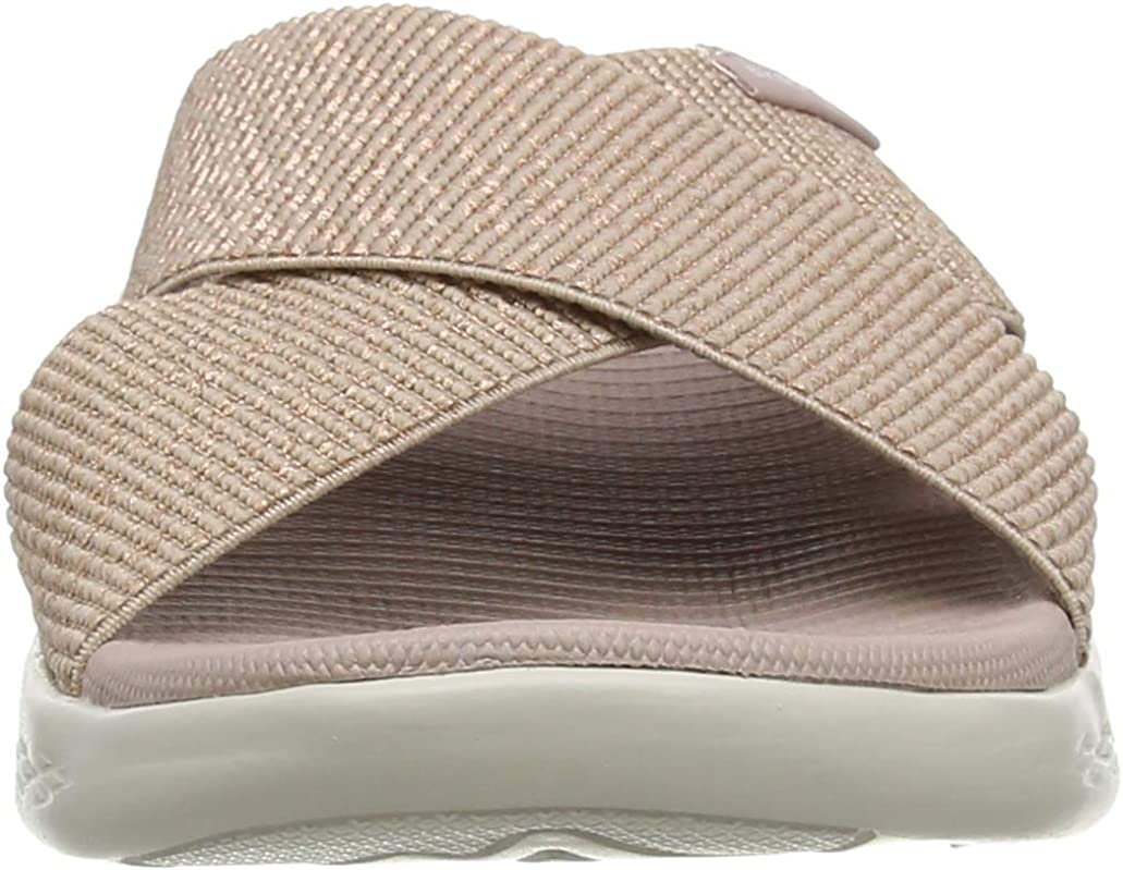 Skechers On- The-go 600, Sandales Bout Ouvert Femme Rose Gold Textile Rsgd