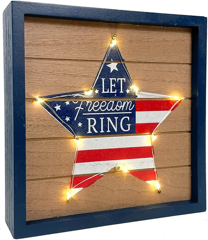 Eternhome American 4th of July Decorations Patriotic Box Sign Star LED Light Wooden Block Home Decor Rustic Farmhouse Sign Tabletop for Memorial Day Independence Labor