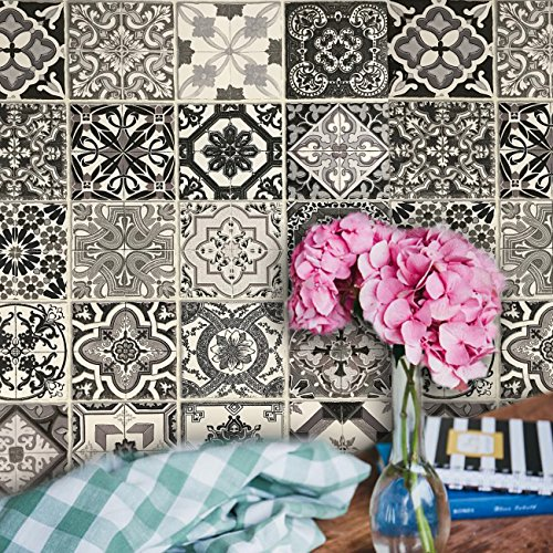 Blue Base Tile (Slavyanski European vinyl wallpaper textured faux square tiles mosaic modern wallcoverings double rolls boho patterned coverings textures wall decor 3D modern vintage retro pattern black & white gray)
