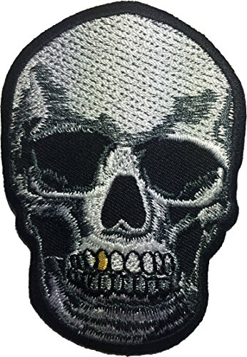 Skull tooth gold patch biker heavy metal Logo Jacket Vest shirt hat blanket backpack T shirt Patches Embroidered Appliques Symbol Badge Cloth Sign Costume Gift 6 x 9cm